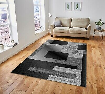New Modern Thick Soft Quality Silver Black Floor Mat Rugs Long Hall Runners