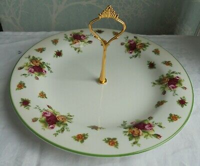 Royal Albert Old Country Roses single tier cake stand Gold tone handle