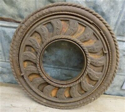 Cast Iron Round Stove Pipe Collar, Chimney Flue Cover, Ornate Grate Heat Ring e,