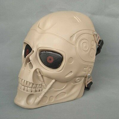 Full Face Protection Paintball CS Airsoft T800 Skull Mask Props Sand Color JD24
