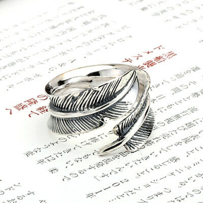 Solid 925 Sterling Silver Retro Mens Womens Angle Feather Ring Adjustable BR163