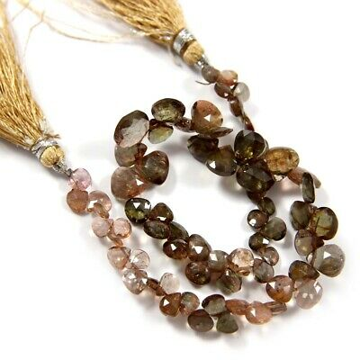 Natural Andalusite Gemstone Fine Faceted Heart Shape Beads 8 inches Strand BL-61