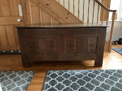 French Long Antique Early 17Thc Oak Coffer Chest