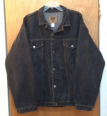 Vintage Gap Mens Denim Jean Jacket Large Black Wash Button Up Cotton Clothing, Shoes & Accessories