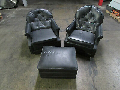 Pair Vintage Kroehler Signature Design Danish Modern Arm Chairs Black Stool (DC)