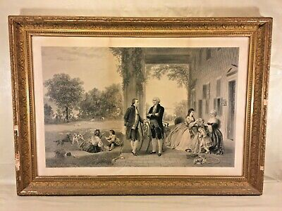 The Home of George Washington Engraving Thomas Barlow 1863 in Frame Under Glass