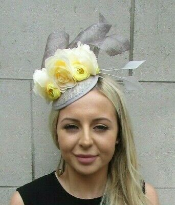 Grey Sinamay Yellow Light Lemon Flower Feather Hat Fascinator Races Hair 7201
