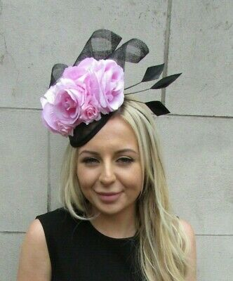 7e7a7a25e13 Black Baby Light Pink Rose Flower Feather Hat Hair Fascinator Races Wedding  7202