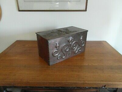 Antique Arts and Crafts copper riveted box , storage box