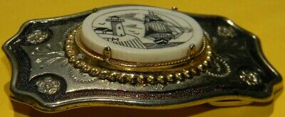 Vintage Nautical Lighthouse Sailing Ship Scrimshaw Women's Brass Belt Buckle