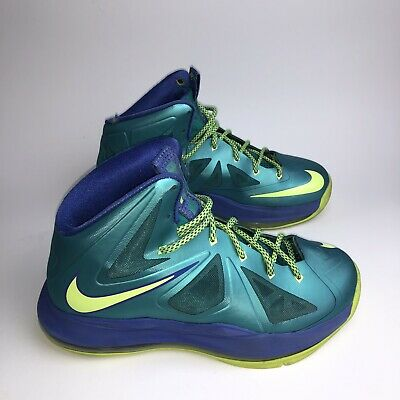 22a830a23f6 Nike Grade School Youth Lebron 10 kids Sport Turquoise Volt Size 5y 543564- 304