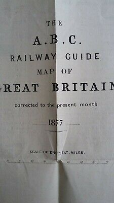 1877 The A.b.c. Railway Guide Map Of Great Britain