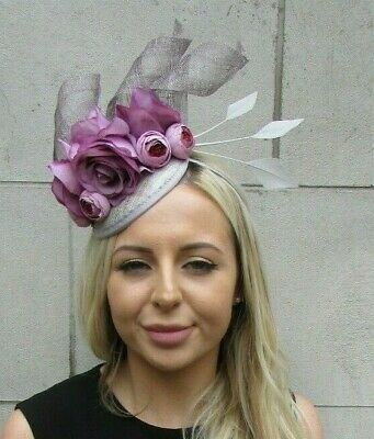 Grey Mauve Lilac Light Purple Rose Flower Feather Hat Fascinator Races Hair 7205