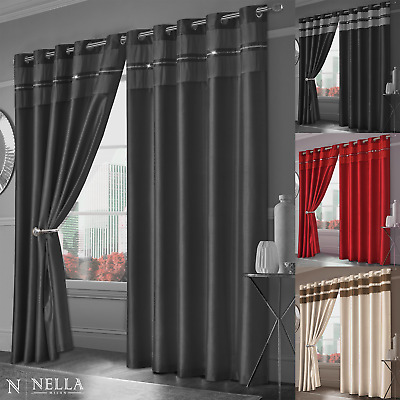 Fully Lined Ready Made Faux Silk Curtains Eyelet Ring Top Diamante Curtain