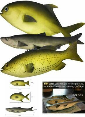 Realistic Fake Fish 3 Large Artificial Fishes Food Display Photography Prop Foam