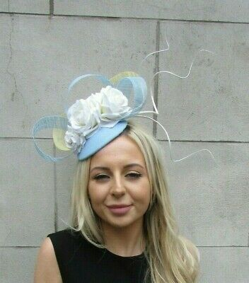 Light Blue Lemon Yellow Cream Rose Flower Feather Hat Hair Fascinator Races 7209