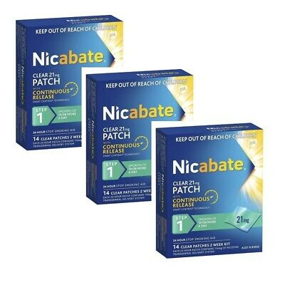3 x Nicabate Clear Patch 21mg Step 1 Patches 14 Stop Quit Smoking Aid