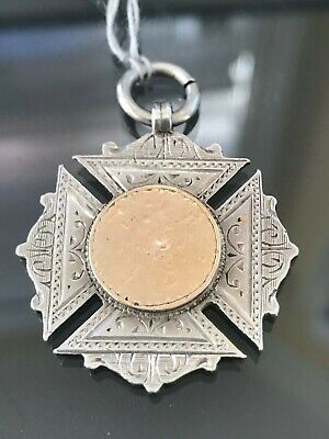 Antique Victorian Sterling Silver Rose Gold Watch Fob Awards Medal 1896