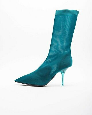 e31448d6faab2 Yeezy Season 7 WOMENS TRANSPARENT KNIT TURQUOISE ANKLE BOOT 90 MM KANYE WEST