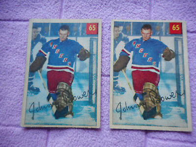 Parkhurst Gum 1954 Ice Hockey Players #65 Johnny Bowers 2 Cards Different Backs