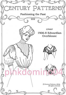 1906-1908 Edwardian Over Blouse Pinafore Jumper Pattern, Bust 30 to 48 inches.