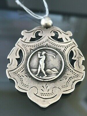 Antique Victorian Sterling Silver Golfer Watch Fob Award Medal 1897