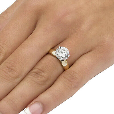 3.50 TCW Cubic Zirconia 10k Gold Solitaire Engagement Ring For Women