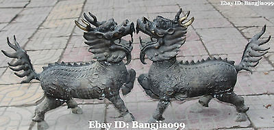 "17"" Collection Chinese Bronze kylin Kirin Chi-Lin Kilin Qilin unicorn Pair"