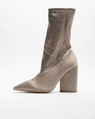 52752706ccc1b Yeezy Season 7 WOMENS BEIGE STRETCH SATIN ANKLE BOOT 100MM KANYE WEST  Authentic