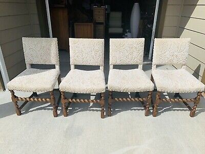 Beautiful Set of 4 Antique Carved Barley Twist Legs Oak Living Room Chairs L@@K