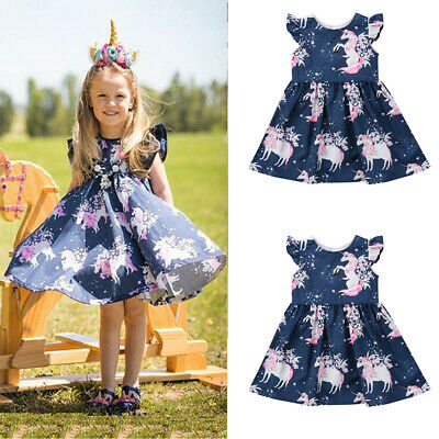 2019 New Kid Baby Girls Cartoon Unicorn Summer Floral Party Pageant Tutu Dress