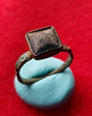 Beautiful east Roman ancient bronze ring , decorated with glass stone .
