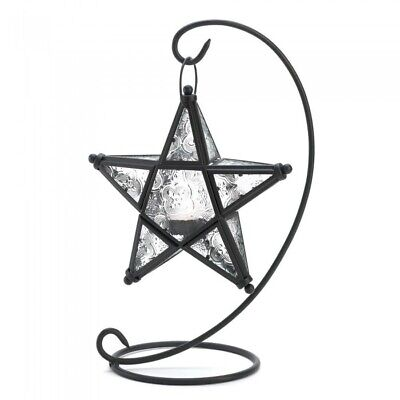 Glass Lantern, White Star Decorative Glass Lantern Candle Holder With Stand