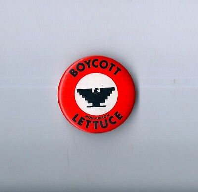 """""""Boycott Non-Union Lettuce"""" Pinback (early1970's) United Farm Workers Solidarity"""