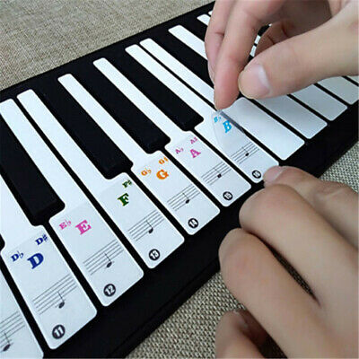 Color Piano Stickers for 49/61/ 76/88 Key Keyboards Transparent Removable Decals