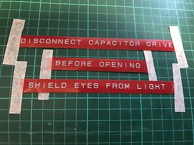 """Back To The Future Flux Capacitor Prop Rotex font 1/2"""" Red Labels"""