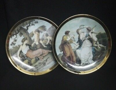 2x pcs Lot Antique Christian Ceramic Plates Collectors + wall hanging included