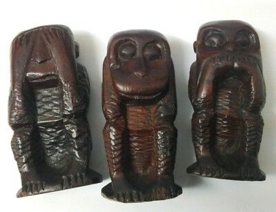 ANTIQUE African Monkey Statuette BLIND DEAF and MUTE Wood Figures Rare Carved