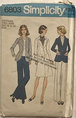 VTG Simplicity 6803 Misses Unlined Suit And Pants Suit Size 18 - 20