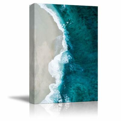 wall26- Canvas Wall Art White Sand Beach Wave Ocean Water Painting- 12x18 inches