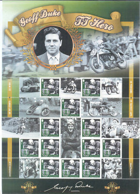 Isle of Man-Geoff Duke Motorcycles-Motorbikes-special sheet mnh