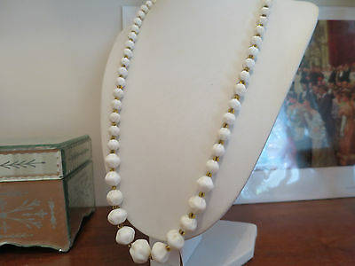 Vintage Hand Made Circa 1930'S White Glass Necklace, & Yellow Seed Glass Beads