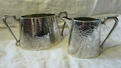 Stunning Silver Plated SUGAR BOWL & CREAMER MILK JUG Engraved Design