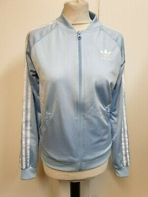 A490 Womens Adidas Blue White Shiny Lightweight Track Jacket M 10 Eu 38