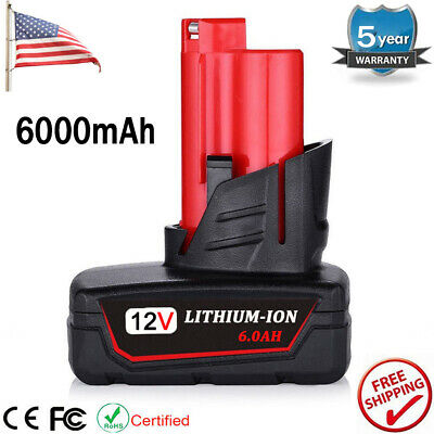 For Milwaukee M12 12-Volt Lithium-Ion XC 6.0 Extended Capacity Red Battery 6.0Ah
