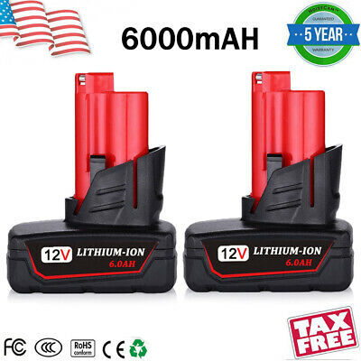 2X For Milwaukee M12 12V 6.0Ah Battery 48-11-2460 XC6.0 Amp Lithium Ion Cordless
