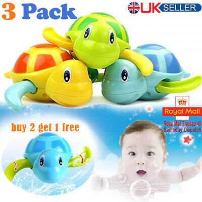 3PCS Baby Bath Pool Swimming Turtle Animal Toy Winding Wind-up For Children Kids