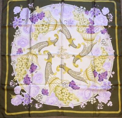 "Authentic Hermes Silk Scarf 90cm 35"" Fleurs et Raisins Green Lilac Purple w/Box"