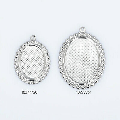 Stainless Steel Oval Pendant Trays blank Setting Jewelry Pendant Suppliers 20pcs