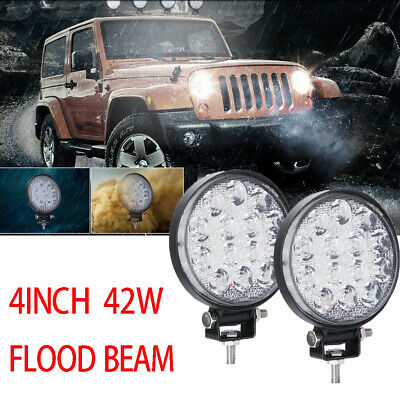 2x 46W LED Work Light Spot RED Round Offroad Fog Driving 4WD Boat UTE ATV SUV